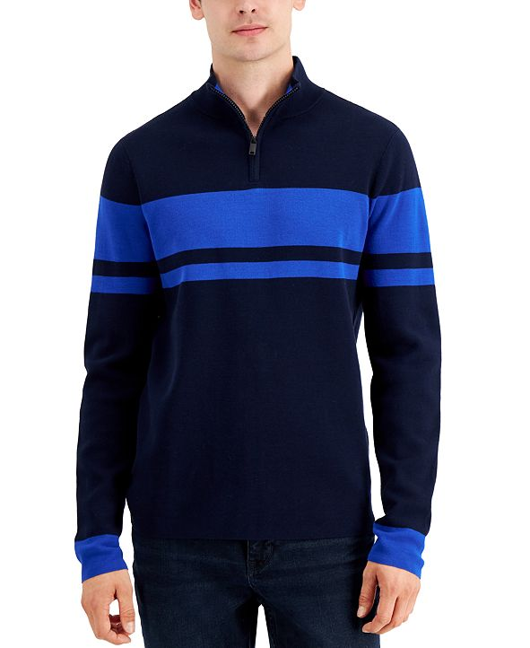 DKNY Men's Quarter-Zip Striped Sweater, Created for Macy's