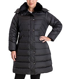 Plus Size Faux-Fur Collar Hooded Down Puffer Coat