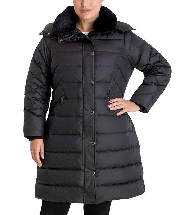 London Fog Plus Size Faux-Fur Collar Hooded Puffer Coat