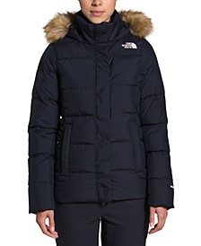 Women's Gotham Faux-Fur Trim Quilted Down Coat