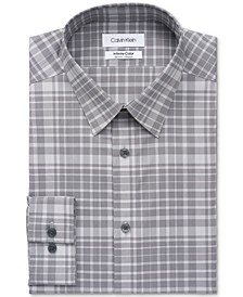 Men's Infinite Color Slim-Fit Non-Iron Performance Stretch Plaid Dress Shirt