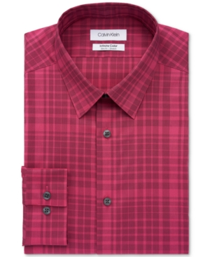 Calvin Klein Men's Infinite Color Slim-Fit Non-Iron Performance Stretch Plaid Dress Shirt