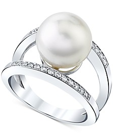 Cultured White South Sea Pearl (11mm) & Diamond (1/4 ct. t.w.) Ring in 14k White Gold