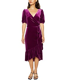 Velvet Faux-Wrap Dress