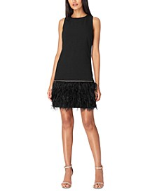 Crepe Faux-Feather Dress