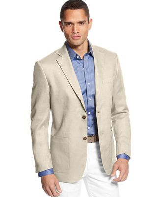 Tasso Elba Island Solid Linen 2-Button Blazer - Men - Macy's