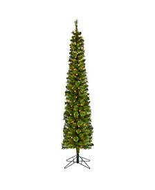 Pencil Artificial Christmas Tree with 150 Clear Multifunction LED Lights and 338 Bendable Branches