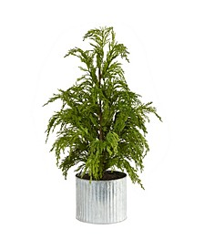 "Cedar Pine ""Natural Look"" Artificial Tree in Decorative Planter"
