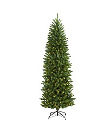 Slim Mountain Pine Artificial Christmas Tree with 300 Clear LED Lights