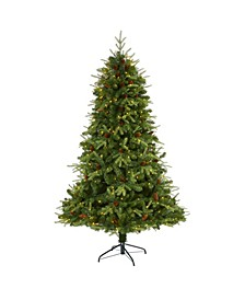 "Wellington Spruce ""Natural Look"" Artificial Christmas Tree with 400 Clear LED Lights and Pine Cones"