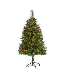 Mixed Pine Artificial Christmas Tree with 100 Clear LED Lights, Pine Cones and Berries