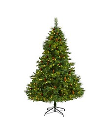 West Virginia Full Bodied Mixed Pine Artificial Christmas Tree with 300 Clear LED Lights and Pine Cones
