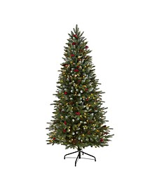 Snow Tipped Portland Spruce Artificial Christmas Tree with Frosted Berries and Pinecones with 300 Clear LED Lights