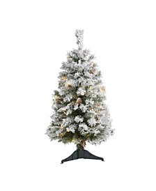 Flocked River Mountain Pine Artificial Christmas Tree with Pinecones and 50 Clear LED Lights
