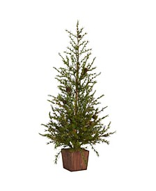 "Alpine ""Natural Look"" Artificial Christmas Tree in Wood Planter with Pine Cones"