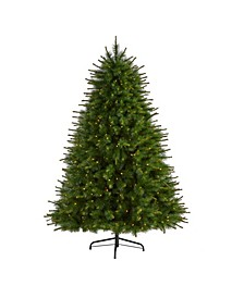 New England Pine Artificial Christmas Tree with 400 Clear Lights and 1044 Bendable Branches