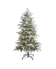 Slim Flocked Nova Scotia Spruce Artificial Christmas Tree with 150 Warm LED Lights and 433 Bendable Branches