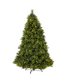 6.North Carolina Mixed Pine Artificial Christmas Tree with 350 Warm LED Lights, 1367 Bendable Branches and Pinecones
