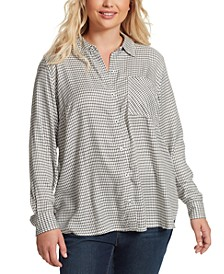 Trendy Plus Size Petunia Printed Shirt