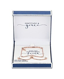 Gratitude & Grace Fine Silver Plated Cubic Zirconia Cross Charm Adjustable Bolo Bracelet in Rose Gold