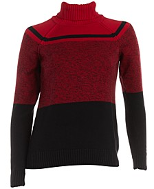 Cotton Colorblocked Turtleneck Sweater, Created for Macy's