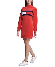 Velour Mock-Neck Logo Sweater Dress