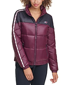 Colorblocked Front-Zip Puffer Coat