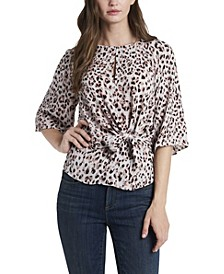 Women's Tie-Front Keyhole Top