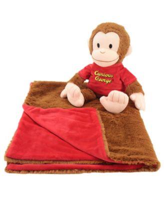 Animal Adventures Curious George Cuddle Bundle 2-In-1 Blanket Plush Bundle