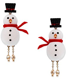 INC Gold-Tone Crystal Snowman Linear Drop Earrings, Created for Macy's