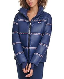 Graphic Thumbhole-Cuff Puffer Jacket