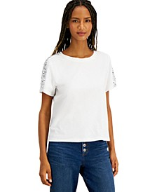 INC Sequin-Sleeve T-Shirt, Created for Macy's