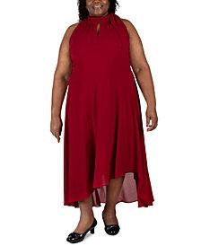 Robbie Bee Plus Size Sleeveless Tie-Neck Maxi Dress