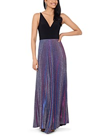 Pleated Glitter Gown