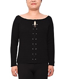 Trendy Plus Size Lace-Up Sweater