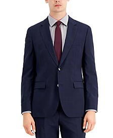 Men's Classic Fit Navy/Burgundy/Plaid Suit Jacket