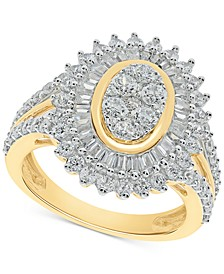 Diamond Baguette Halo Cluster Ring (2 ct. t.w.) in 10k Gold