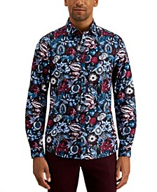 Men's Limited Edition Spread Collar Winterberry Print Shirt