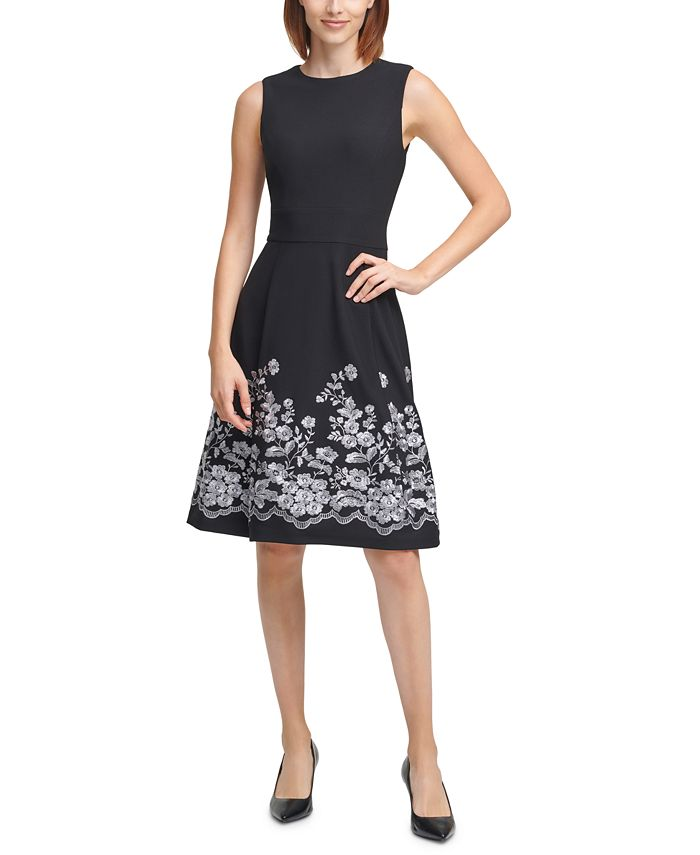 Calvin Klein - Embroidered A-Line Dress