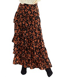 Women's Floral Tiered Maxi Skirt