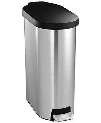 simplehuman brushed stainless steel plastic lid 45 liter slim step trash can kitchen gadgets. Black Bedroom Furniture Sets. Home Design Ideas