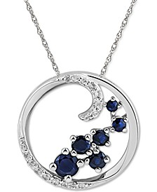 "Sapphire (5/8 ct. t.w.) & White Sapphire (1/8 ct. t.w.) Scatter Cluster Open Disc 18"" Pendant Necklace in Sterling Silver (Also in Ruby & Emerald)"