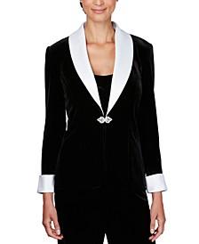 Velvet Satin-Trim Jacket & Camisole