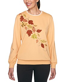 Petite Embroidered Embellished Sweatshirt