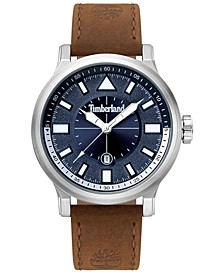 Men's Brown Leather Strap Watch 46mm
