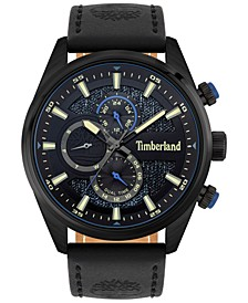 Men's Black Leather Strap Watch 46mm