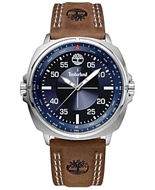 Men's Brown Leather Strap Watch 47mm