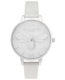 Women's Lucky Bee Shimmer Pearl Leather Strap Watch 34mm