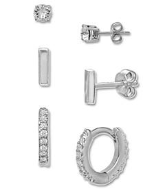 3-Pc. Set Cubic Zirconia Stud & Hoop Earrings in Sterling Silver, Created for Macy's
