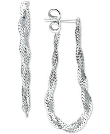 Braided Chain Front & Back Earrings in Sterling Silver, Created for Macy's